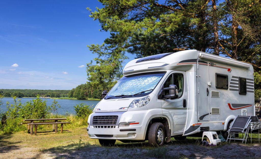 Holiday with motor home at the lake, Warmia-Masuria Province, Poland