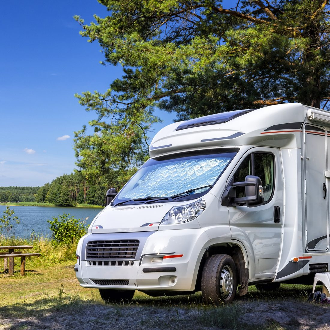 Holiday with motor home at the lake, Warmia-Masuria Province, Poland